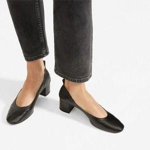 [Everlane] Black Italian Leather The Day Heel